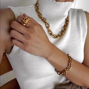 Jewelry - Vintage Gold Chunky Thick Chain Link Necklace
